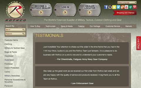 Screenshot of Testimonials Page rothco.com - Testimonials - captured Aug. 15, 2016
