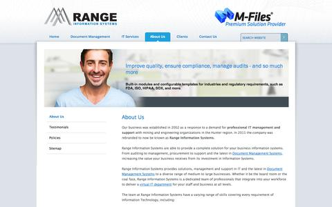 Screenshot of About Page rangeis.com.au - Range Information Systems - IT Support Service - Newcastle Hunter - captured Oct. 27, 2014