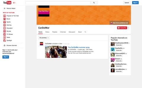 Screenshot of YouTube Page youtube.com - CarDelMar  - YouTube - captured Oct. 22, 2014