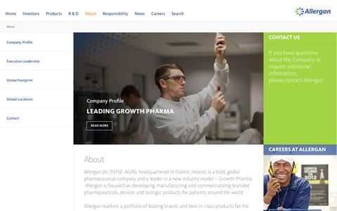 Screenshot of About Page allergan.com - About Allergan - NYSE:AGN - Leading Growth Pharma - Allergan - captured May 14, 2017