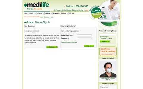 Screenshot of Login Page medilife.edu.au - Log in to your Medilife account - captured Oct. 27, 2014