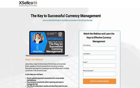Screenshot of Landing Page xsellco.com - The Key to Successful Currency Management [Webinar] - captured July 24, 2017