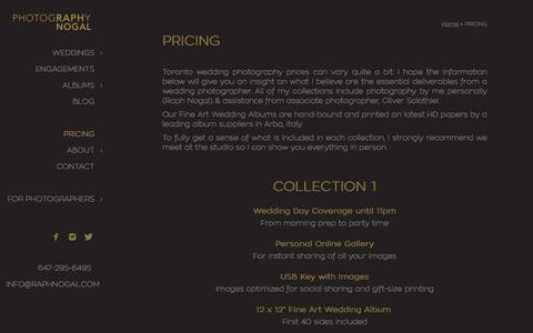 Screenshot of Pricing Page raphnogal.com - Toronto Wedding Photography Prices - captured Oct. 27, 2017