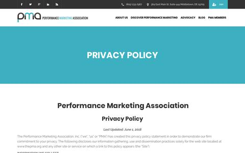 Screenshot of Privacy Page thepma.org - Privacy Policy | The PMA - captured June 20, 2018
