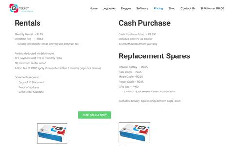 Screenshot of Pricing Page elogger.co.za - Pricing – Elogger - captured July 18, 2018