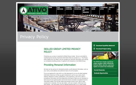 Screenshot of Privacy Page ativo.com.au - ATIVO - Privacy Policy - captured Oct. 4, 2014