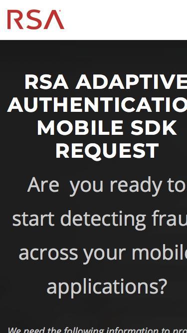 RSA Adaptive Authentication Mobile SDK Request