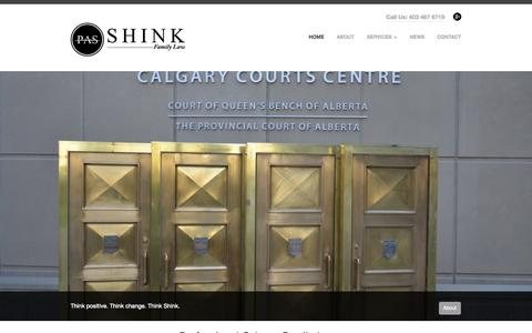 Screenshot of Home Page shinkfamilylaw.com - Calgary Family Lawyer T2R 0C5 | Family Lawyers in Calgary AB | Shink Family Law (403) 467-6719 - captured Oct. 10, 2014