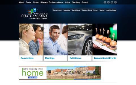 Screenshot of Home Page ckcc.ca - Chatham-Kent John D. Bradley Convention CentreChatham-Kent Conference and Exhibit Centre - Chatham-Kent John D. Bradley Convention Centre - captured Sept. 20, 2015