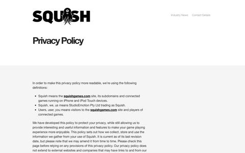 Screenshot of Privacy Page squishgames.com - Privacy Policy | SQUISH - captured Oct. 26, 2014