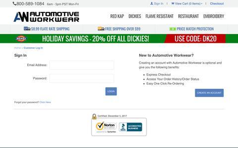 Automotive Workwear: Customer Log In