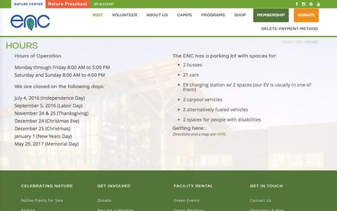 Screenshot of Hours Page encenter.org - Hours  |  Environmental Nature Center - captured Nov. 9, 2016
