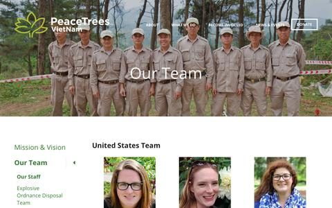 Screenshot of Team Page peacetreesvietnam.org - PeaceTrees Vietnam : About : Our Team : Our Staff - captured July 16, 2018