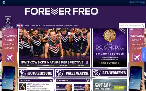 Screenshot of Home Page fremantlefc.com.au - Official AFL Website of the Fremantle Dockers - captured Sept. 23, 2018