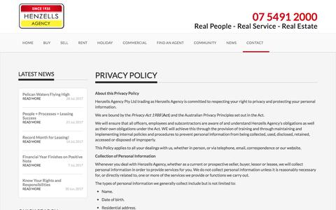 Screenshot of Privacy Page henzells.com.au - Privacy Policy - Henzells Agency - Caloundra Real Estate - captured Aug. 3, 2017