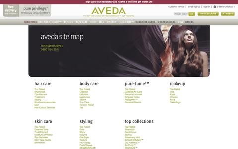 Screenshot of Site Map Page aveda.co.uk - Aveda UK | Official UK Site | Site Map - captured Nov. 9, 2016