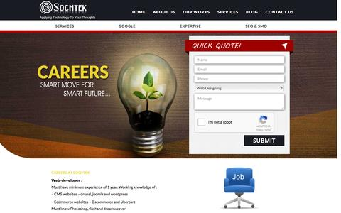 Screenshot of Jobs Page sochtek.com - Careers at Sochtek - Web Designer, Web Developer, SEO - captured Feb. 15, 2016