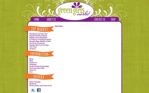Screenshot of FAQ Page greengirlsmarket.com - Green and Organic Products for Healthy Living - captured Oct. 27, 2014