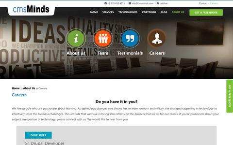 Screenshot of Jobs Page cmsminds.com - Careers - cmsMinds - captured Nov. 2, 2018