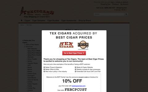 Screenshot of Site Map Page texcigars.com - Site Map | Tex Cigars - Free Shipping - captured Feb. 16, 2016