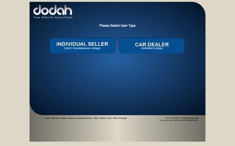 Screenshot of Signup Page dodah.com - Sign up to Sell Your Vehicle on Dodah.com - captured Oct. 5, 2014