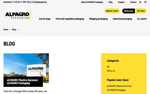 Screenshot of Blog alpagro.be - Blog - ALPAGRO Packaging - captured Dec. 9, 2018