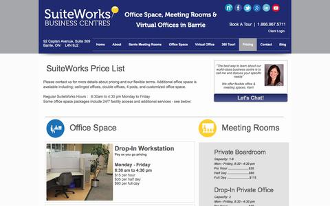 Screenshot of Pricing Page suiteworks.ca - How much does it cost for SuiteWorks Office space? - captured Dec. 2, 2016