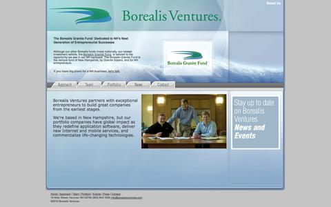Screenshot of Home Page borealisventures.com - Borealis Ventures - captured Sept. 30, 2014