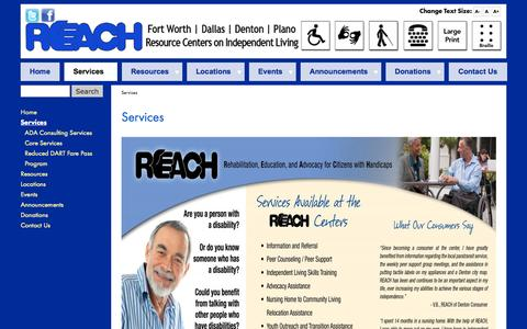 Screenshot of Services Page reachcils.org - Services - captured Oct. 7, 2014