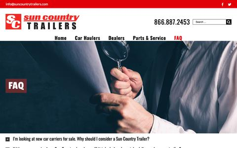 Screenshot of FAQ Page suncountrytrailers.com - SunCountry Trailers Frequently Asked Questions - captured Oct. 19, 2018