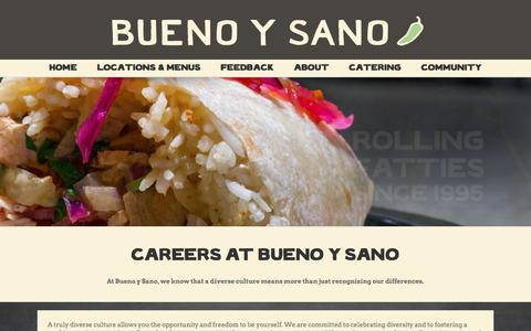 Screenshot of Jobs Page buenoysano.com - CAREERS - Mexican Restaurant - captured July 30, 2016