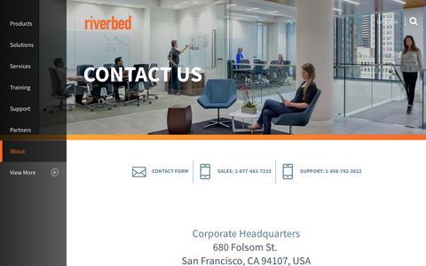 Screenshot of Contact Page riverbed.com - Contact Us | Riverbed | US - captured Dec. 16, 2016