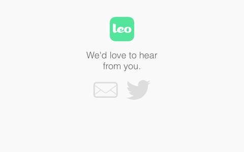 Screenshot of Contact Page leo.co - Leo - Photo Chat for Groups - captured Dec. 17, 2014