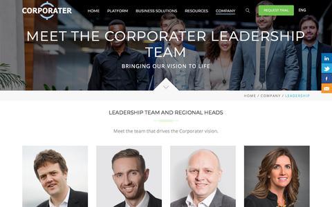 Screenshot of Team Page corporater.com - Business Management Platform Company, Corporater | Leadership Team and Regional Heads - captured Jan. 13, 2018