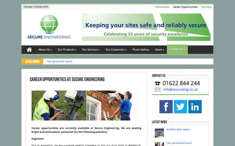 Screenshot of Jobs Page secureeng.co.uk - Career Opportunities   Secure Engineering   CCTV in Kent - captured Oct. 4, 2014