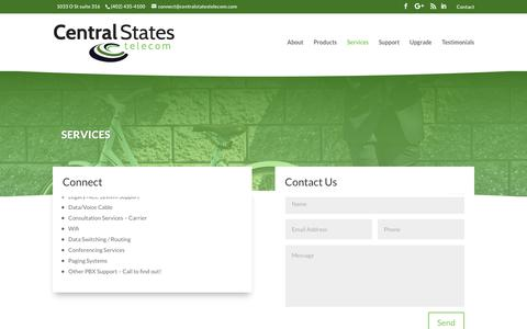 Screenshot of Services Page centralstatestelecom.com - Services – Central States Telecom - captured Sept. 27, 2018