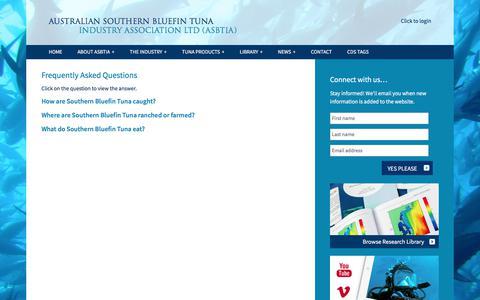 Screenshot of FAQ Page asbtia.com.au - Frequently Asked Questions - Australian Southern Bluefin Tuna Industry Association LTD (ASBTIA) - captured Oct. 9, 2017