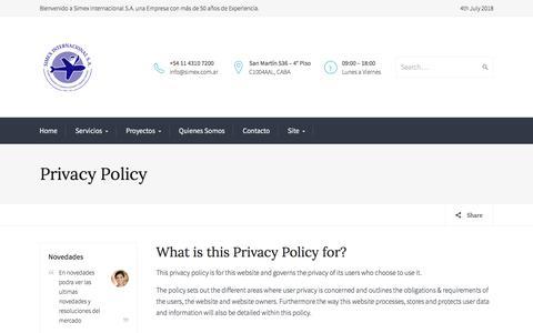 Screenshot of Privacy Page simexinternacional.com.ar - Privacy Policy — Simex Internacional S.A. - captured July 5, 2018