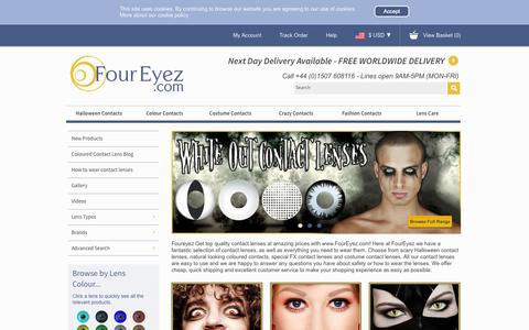 Screenshot of Home Page foureyez.com - Crazy Contact Lenses, Coloured Contact Lenses, Halloween Costume Contact Lenses and Gorgeous Fashion Contact Lenses - captured Sept. 22, 2014
