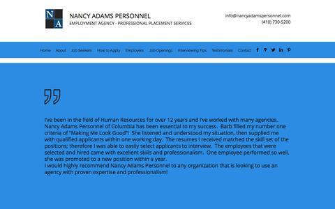 Screenshot of Testimonials Page nancyadamspersonnel.com - Testimonials | Nancy Adams Personnel - captured Nov. 15, 2017