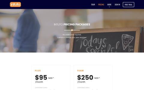 Screenshot of Pricing Page intuto.com - Pricing Plans - Try Intuto for Free Today - captured June 8, 2017