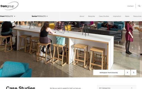 Screenshot of Case Studies Page frem.co.uk - Contemporary & Bespoke Office Furniture | Frem Group - captured Nov. 9, 2018