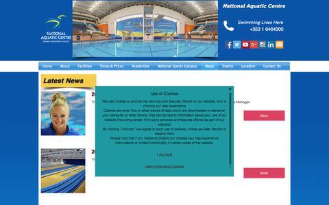 Screenshot of Press Page nationalaquaticcentre.ie - National Aquatic Centre -  News - captured Nov. 15, 2017