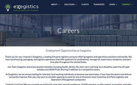 Screenshot of Jobs Page exegistics.com - Careers - Exegistics - captured July 21, 2018