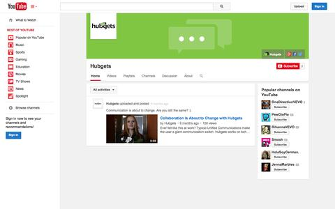 Screenshot of YouTube Page youtube.com - Hubgets  - YouTube - captured Oct. 23, 2014