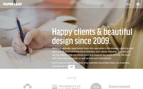 Screenshot of About Page paper-leaf.com - About Us | Paper Leaf | Edmonton Web Design and Development - captured Aug. 29, 2016