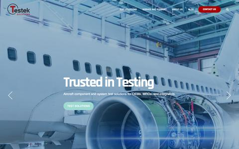 Screenshot of Home Page testek.com - Testek Solutions | Trusted in Testing - captured Jan. 20, 2020