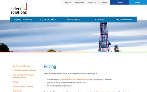 Screenshot of Pricing Page select-solutions.com.au - Select Solutions - Creating Value | Delivering Results - Pricing - captured Oct. 3, 2014