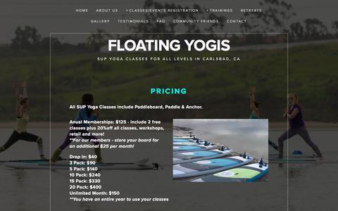 Screenshot of Pricing Page floatingyogis.com - Membership & Pricing — Floating Yogis - captured Jan. 10, 2018