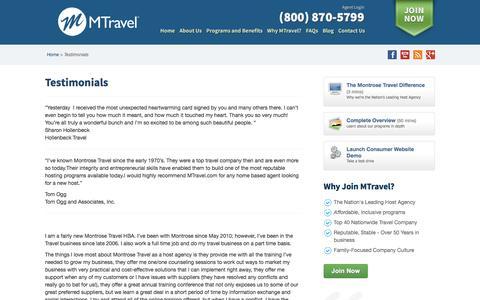 Screenshot of Developers Page mtravel.com - Testimonials - captured Nov. 13, 2016